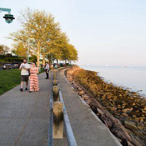Neighborhood seaside boardwalk