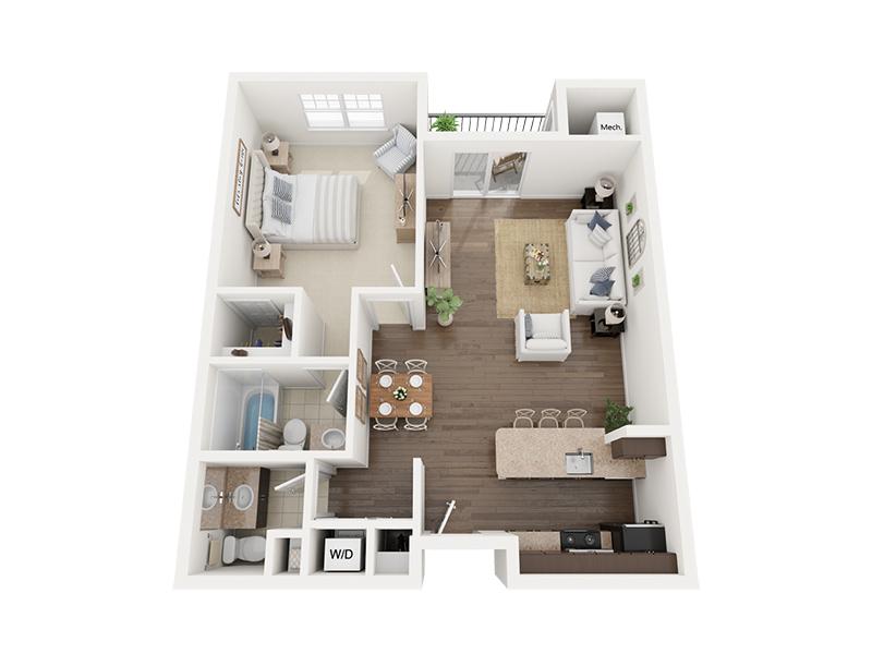 One Bedroom 3D Floor plan rendering