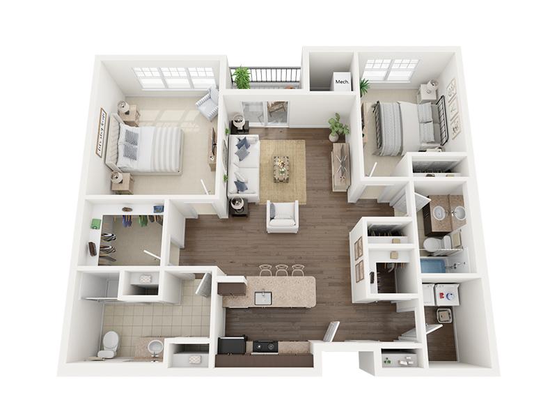 Two Bedroom 3D Floor plan rendering